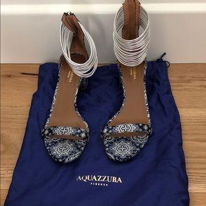 Aquazurra Strappy Block-Heeled Sandals